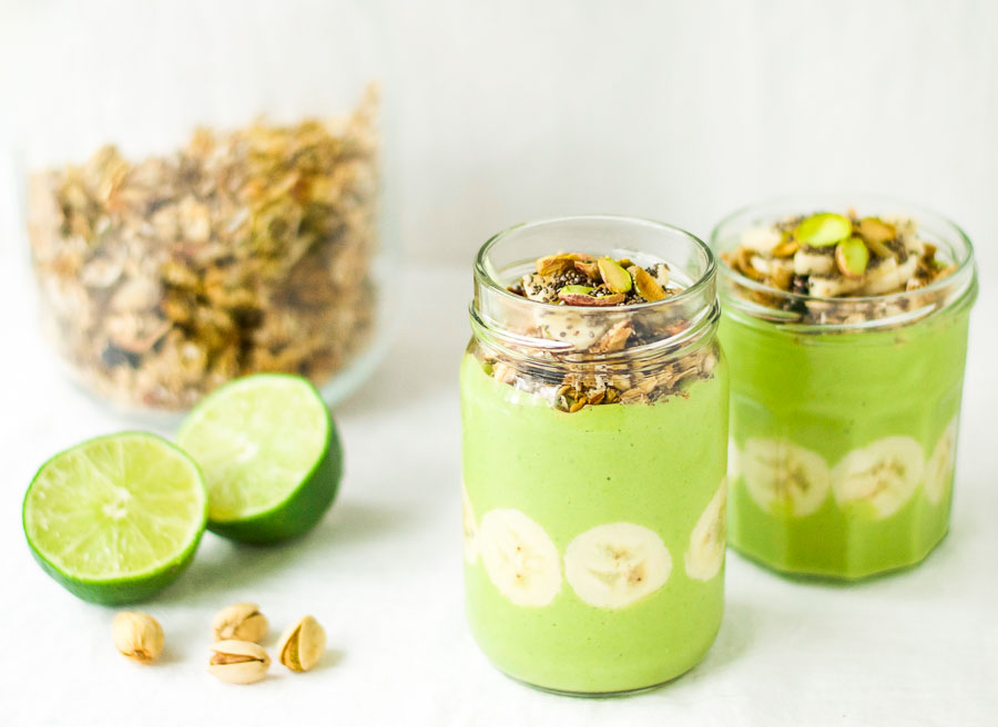 Mint lime and ginger tropical smoothie