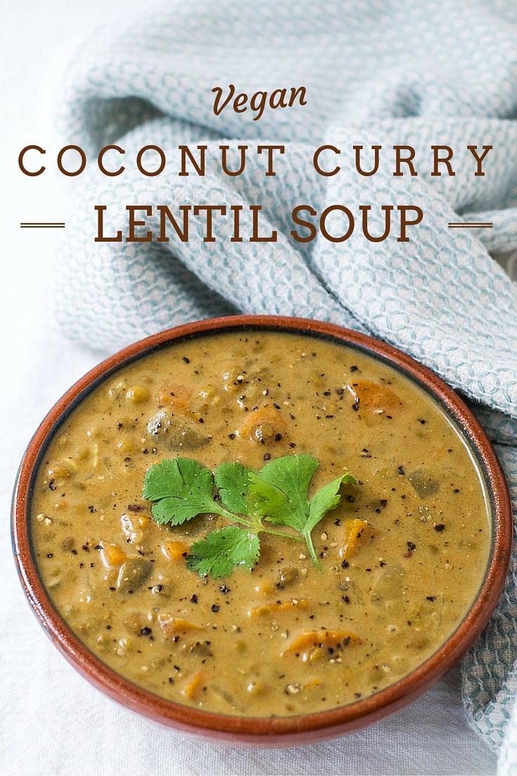 Coconut curry lentil soup {vegan}