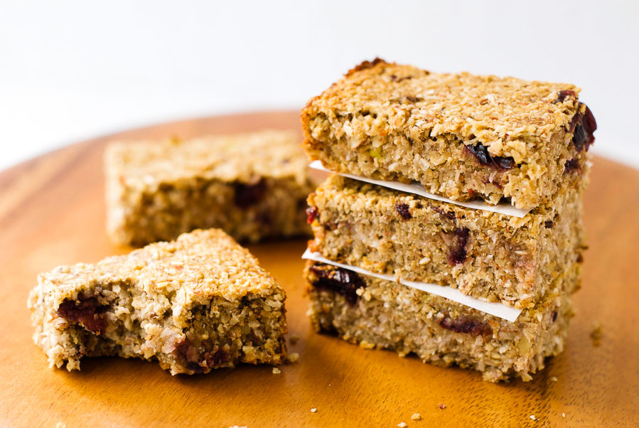Cranberry avocado granola bars {vegan}