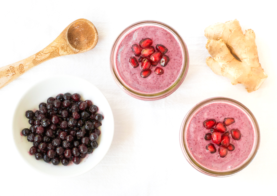 Wild blueberry ginger smoothie